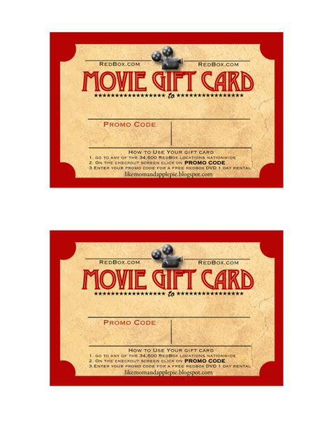printable movie gift cards like mom and apple pie