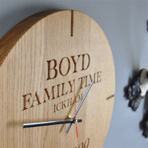 large personalised wooden oak wall clock by the oak rope company notonthehighstreet