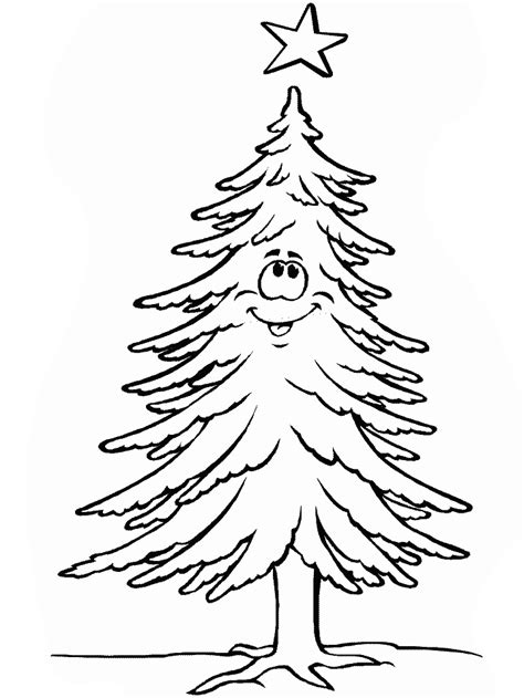 Blank Christmas Tree Coloring Pages Brown Tree Coloring Page