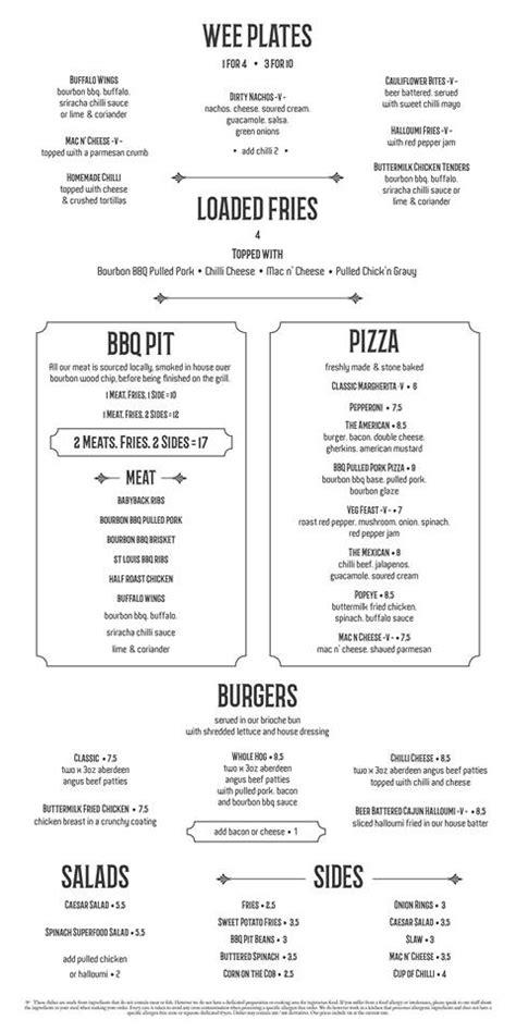 menu design glasgow van winkle east end glasgow