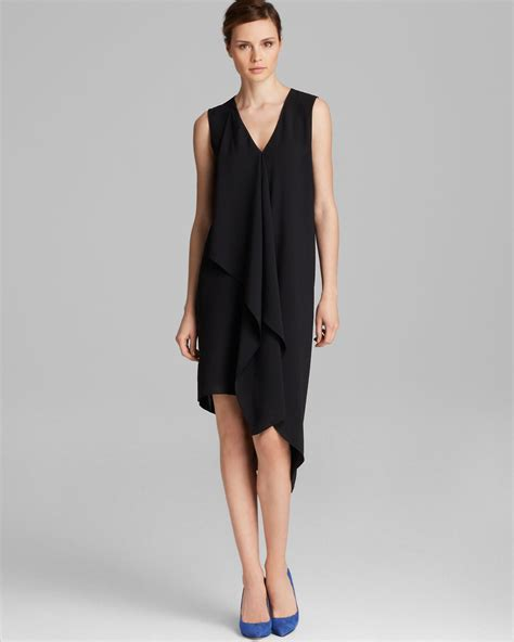 drape front dresses adrianna papell asymmetric drape front dress in black lyst