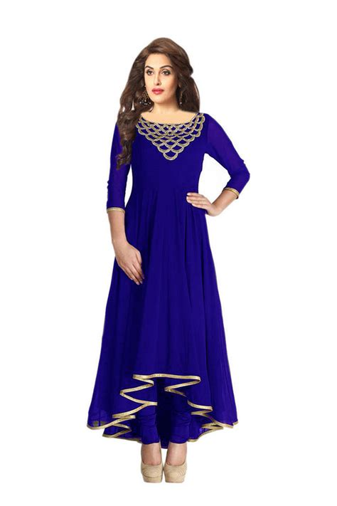 design house kurta online buy blue embroidered georgette kurtas and kurtis online