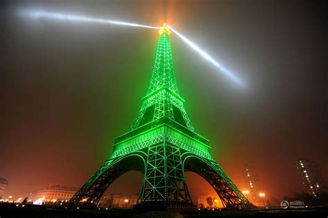 eiffel tower light up replica of eiffel tower lights up in hangzhou shanghai daily