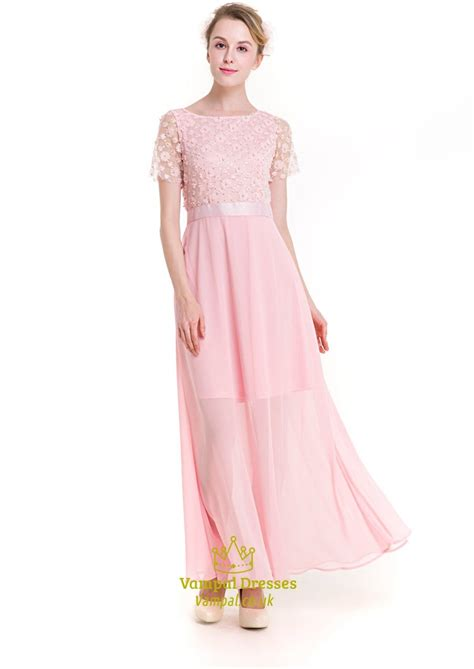 Dress Baby 02 Bunga Pink baby pink illusion sleeve chiffon maxi dress with embellishments val dresses