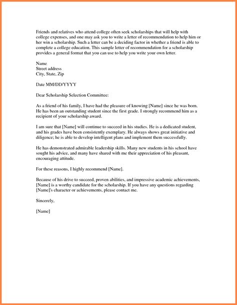 College Letter Topics ideas of sle college letter of recommendation from family member 4 with sle