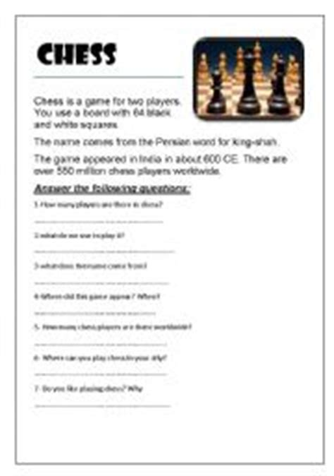 printable chess instructions beginners english worksheets sport worksheets page 40