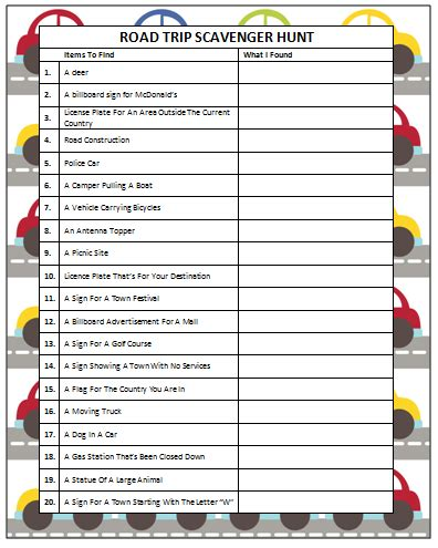 printable games for road trips road trip scavenger hunt free printable road trips