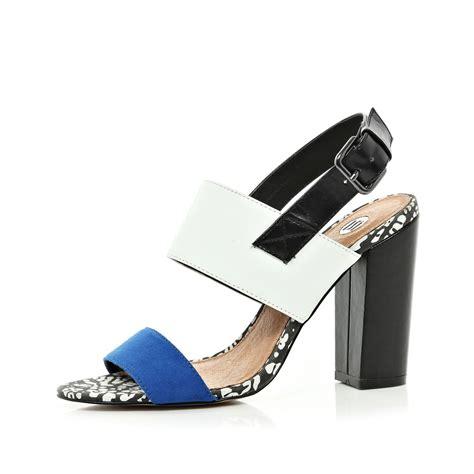 blue block heel sandals river island blue chunky block heel sandals in black