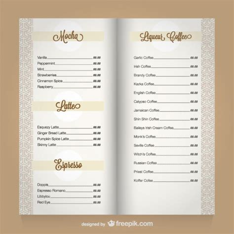 coffee menu template vector free download