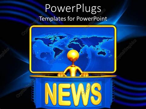 Powerpoint Template Golden 3d Figure Presenting News With Yellow Word News And Plain World Map News Powerpoint Template