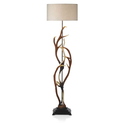 Stag Antler Floor Lamp with Shade Realistic Deer Antlers Standard Lamp