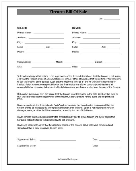 firearm bill of sale form best photos of easy printable bill of sale free