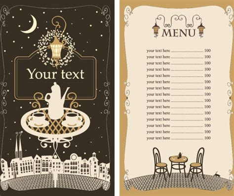 menu card templates vector free set of cafe and restaurant menu cover template vector free
