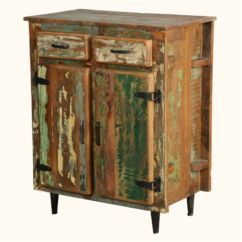 Reclaimed Wood Rustic Kitchen Utility Storage Cabinet Kitchen Table With Storage Cabinets