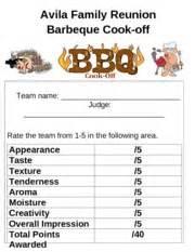 bbq cook off score sheet avila family reunion barbeque