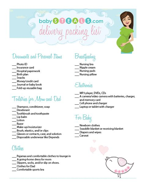 printable pregnancy to do list labor and delivery packing list free printable for