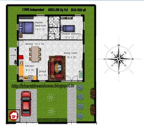 My Dream Home Interior Design by Bharat Dream Home 2 Bedroom Floorplan 1024 Sq Ft East Facing