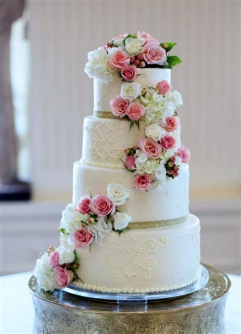 4 Tier Round White Wedding Cake with Cascading Pink & White Roses