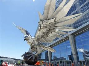 Atlanta Mercedes Dealerships A Stainless Steel Falcon Is Rising Up In Front Of