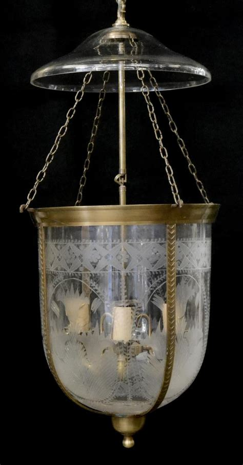 Bell Jar Chandeliers Continental Etched Clear Glass Bell Jar Chandelier Luxury Estates Aucton Day One