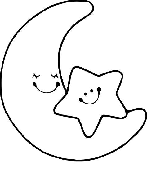 Coloriage De Lune Avec Des Etoiles Pour Colorier L