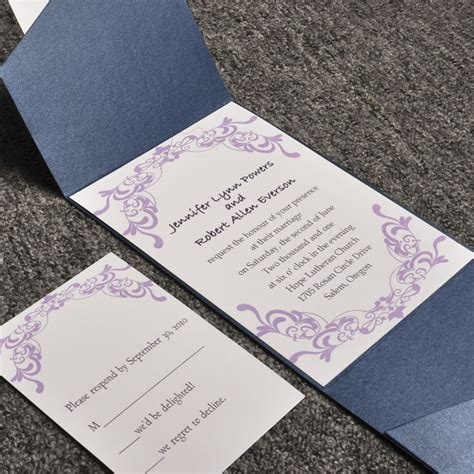 wedding invitations sets purple damask card and blue pocket affordable