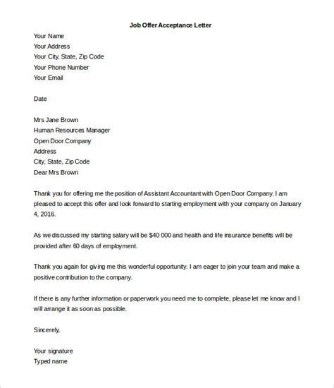 Acceptance Letter For Teaching Position sle acceptance letter for teaching cover letter