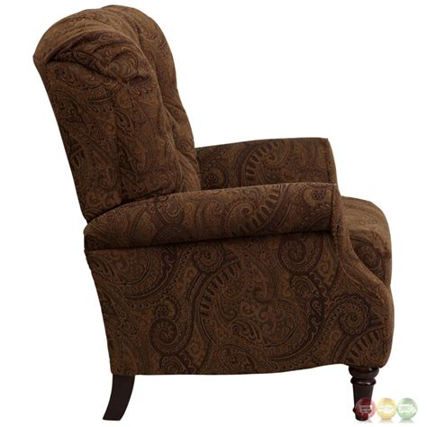 traditional recliners traditional tobacco fabric tufted hi leg recliner