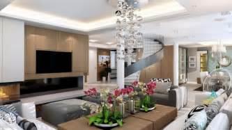 Formidable Deco Interieur Gris Blanc #3: Salon-design-escalier-tournant-cheminée-ottomans-gris-suspension-boules-coussins.jpeg