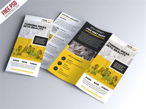 brochure trifold template psd multipurpose tri fold brochure psd template psdfreebies