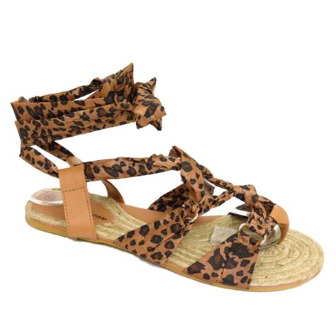 wrap around slippers womens leopard wrap around ankle sandals summer