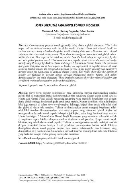 (PDF) ASPEK LOKALITAS PADA NOVEL POPULER INDONESIA
