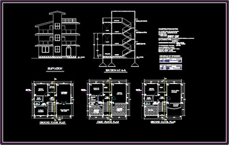 autocad section bungalows 2d dxf design section for autocad designs cad