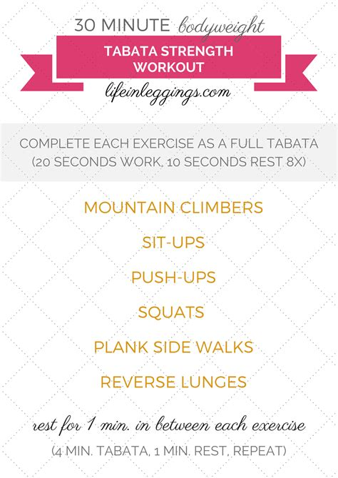 30 minute bodyweight tabata strength workout in