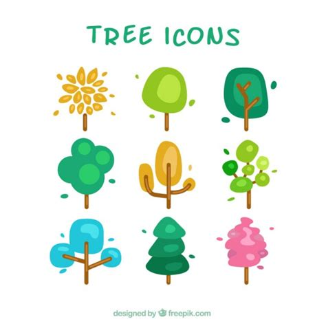 cute trees cute tree icons vector free download
