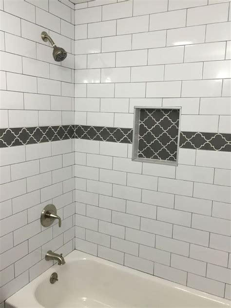white subway tile with glass accent backsplash our house large white subway tile with dark gray grout and gray