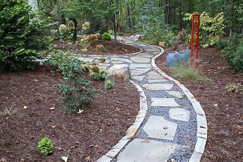 rock pathway ideas flagstone walkway with stone edging and gravel outdoors