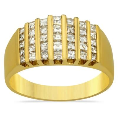 Set Avian Chenel channel set emerald cut ring in 14k yellow gold 1 25 ctw