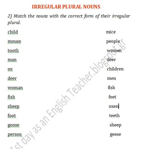 Irregular Nouns Worksheet by 1st Day As An Worksheets For A Class