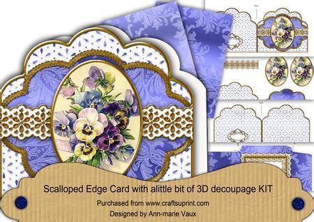 3d Decoupage Kits - blue pansies em anglaise scalloped 3d decoupage card kit
