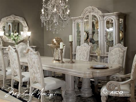 aico dining room set michael amini monte carlo silver pearl ii traditional