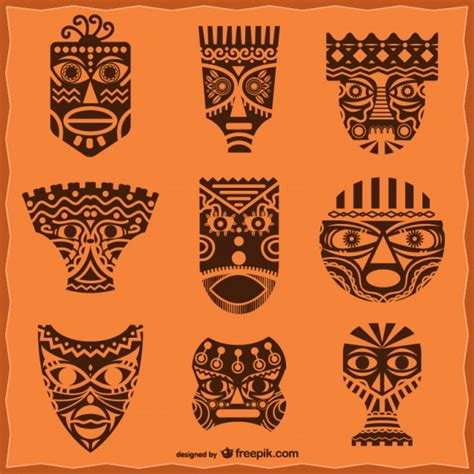 african masks pack vector free download