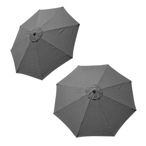 Patio Umbrella Replacement Covers Patio Market Outdoor 9 Ft 8 Ribs Umbrella Cover Canopy Grey Replacement Top Ebay