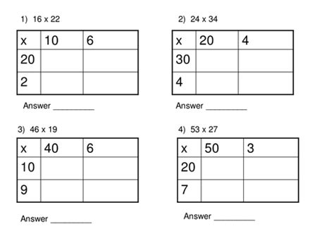 Multiplication Boxes Worksheets by Multiplication Box Method Worksheet By Thechal1