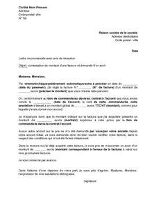 Demande De Facture Lettre Exemple Gratuit De Lettre Contestation Montant Une Facture Et Demande Un Avoir