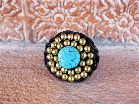 Thailand Handmade Jewelry - circle turquoise and brass adjustable ring jewelry