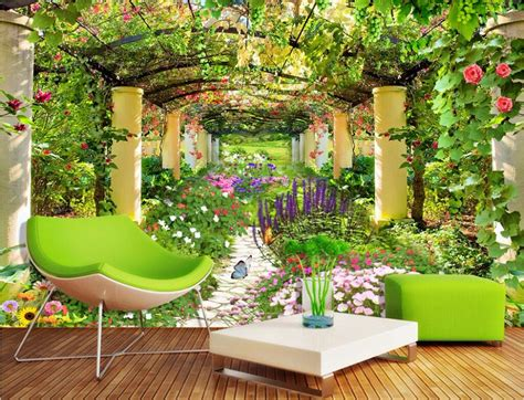 wallpaper flower garden 3d aliexpress com buy custom photo non woven mural 3d