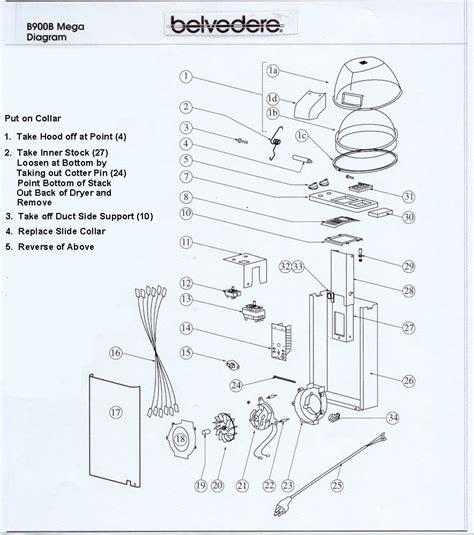 Hair Dryer Parts Diagram salon dryer parts belvedere belmont koken collins