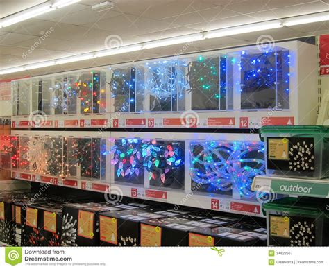 christmas lights on show for sale editorial photography