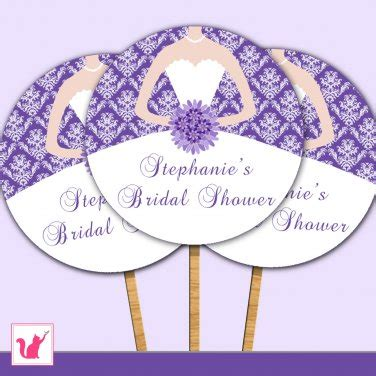 bridal shower cupcake toppers printables printable personalized bridal shower damask purple cupcake topper